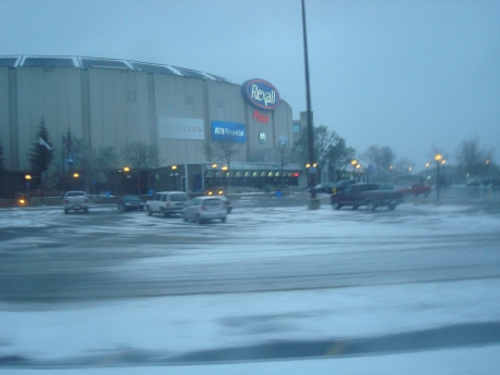 First stop...Rexall Place to drop the gear and to get in a workout to erase some bus legs...