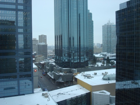 Finally, the view from my 18th floor hotel room in downtown Edmonton this morning...