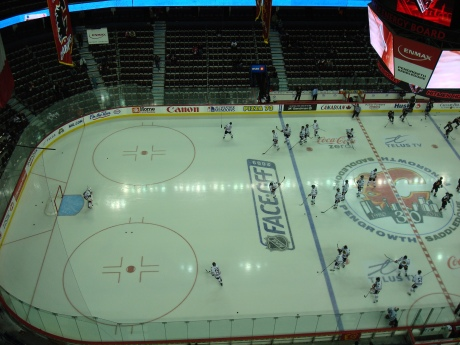 The view from the rafters in Calgary...otherwise known as the press box...